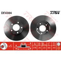 TRW Féktárcsa DF4384